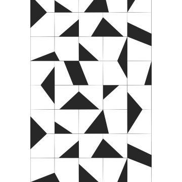 fototapet motiv med kakelplattor svart och vitt