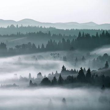 fototapet dimmiga berg grönt