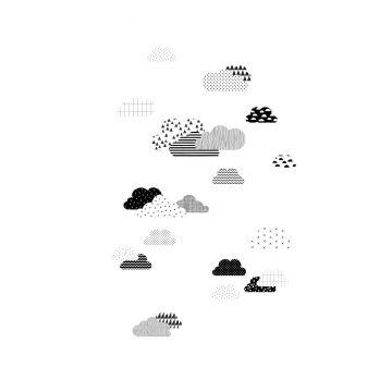 fototapet moln svart och vitt