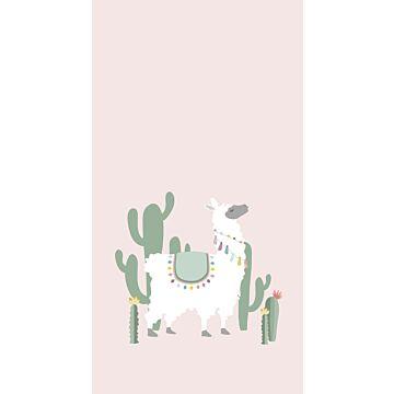 fototapet alpacka milt rosa och grönt