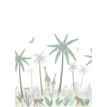 fototapet djungeldjur grönt, grått och brunt
