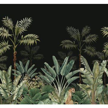 fototapet djungel svart och grågrönt