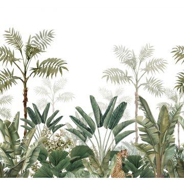 fototapet djungel vitt och gråaktigt olivgrönt