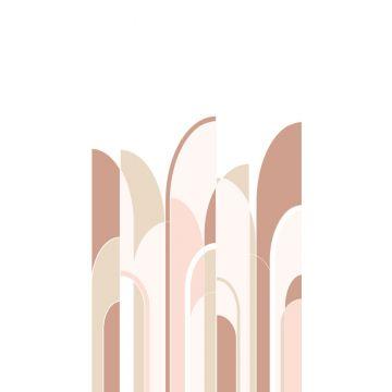 fototapet art deco terrakottaröd och milt rosa