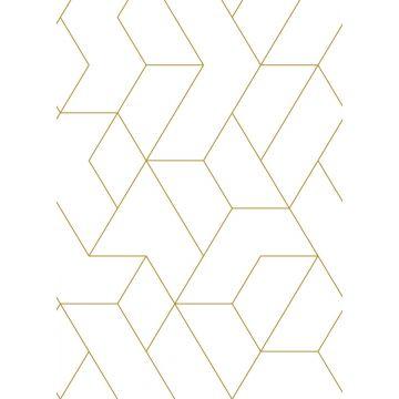 fototapet grafiska linjer vitt och guld