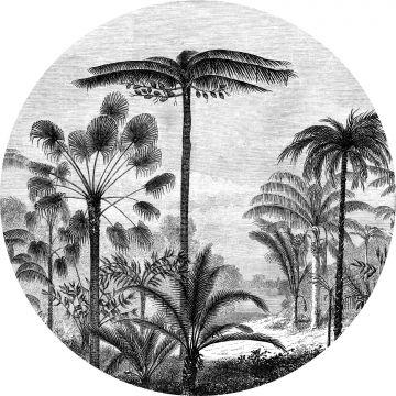 självhäftande rund tapet tropiskt landskap med palmer svart och vitt
