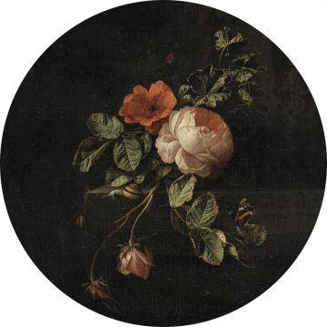 självhäftande rund tapet stilleben med blommor svart och grönt