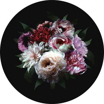 självhäftande rund tapet stilleben med blommor mångfärgat på svart