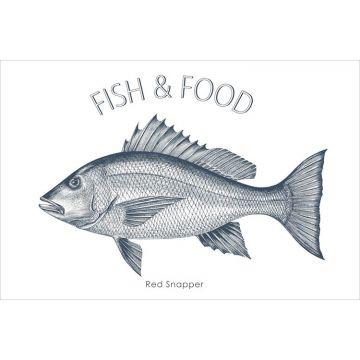 wallsticker fisk blått