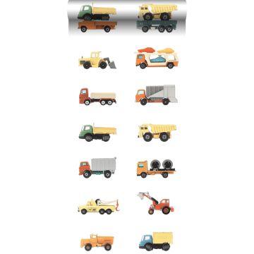 tapet XXL lastbilar och traktorer gul, orange och blått