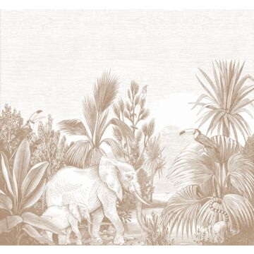 fototapet djungel terrakottaröd