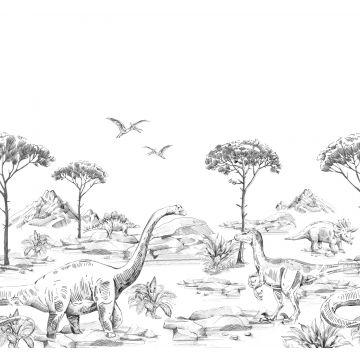 fototapet dinosaurier svart och vitt