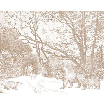 fototapet skog med skogsdjur terrakottaröd