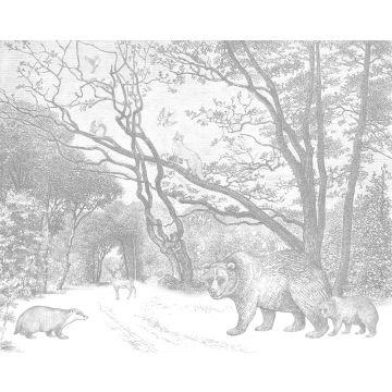 fototapet skog med skogsdjur grått