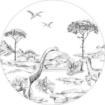 självhäftande rund tapet dinosaurier svart och vitt