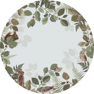 självhäftande rund tapet skogens djur grönt och brunt