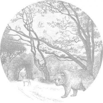 självhäftande rund tapet skog med skogsdjur grått