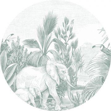 självhäftande rund tapet djungel grönt