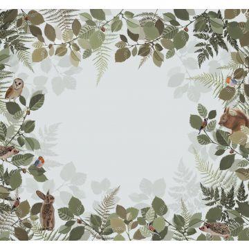fototapet skogens djur grönt och brunt