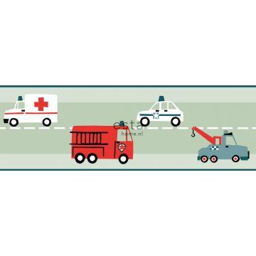 självhäftande tapetbård bilar, brandbilar, helikoptrar och lyftkranar mintgrönt