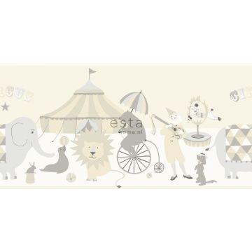 självhäftande tapetbård cirkus ljusgrått, beige och glänsande vitt
