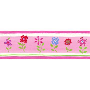tapetbård blommor rosa