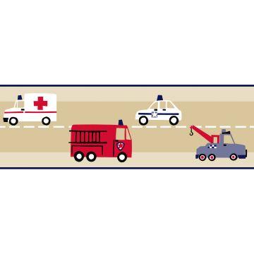 tapetbård brandbil och polisbil beige, rött och blått