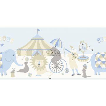 tapetbård cirkus ljusblått, beige och vitt