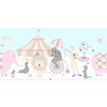 tapetbård cirkus ljusrosa, ljusblått och beige