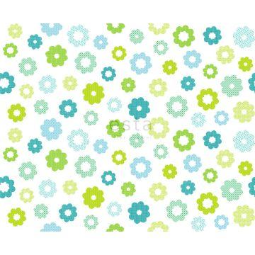 tyg blommor limegrönt