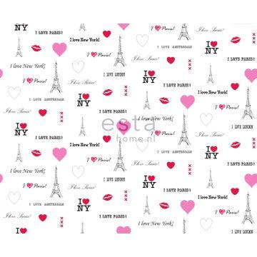 tyg I love Paris vitt