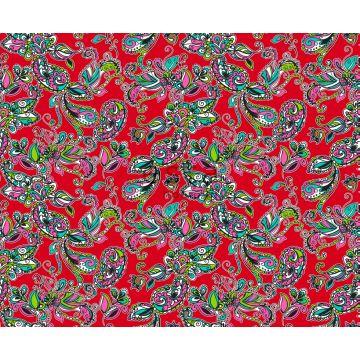 tyg poppiga blommor och paisleymönster rött