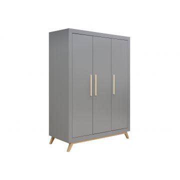 3-dörrars garderob Fenna grått och naturlig